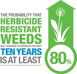 The probability that herbicide-resistant weeds will continue to spread in the next ten years is at least 80 percent.