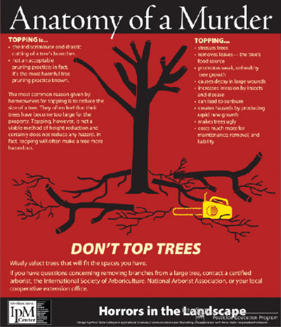 Poster advising against topping trees, based on the film poster for Anatomy of a Murder (1959) by Saul Bass
