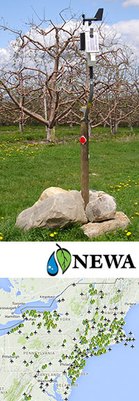 A typical weather station (top) and map of NEWA weather stations (below)
